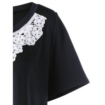 Lace Insert Plus Size Tunic T-Shirt - BLACK 4XL