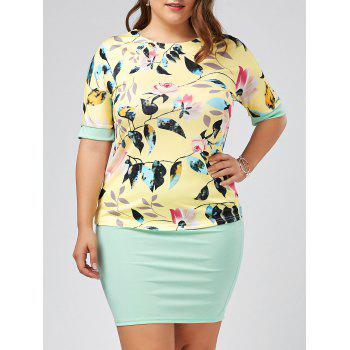 Plus Size Floral Top and Knee Length Sheath Skirt Set