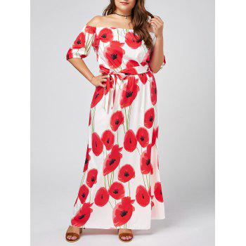 Plus Size Floral Maxi Off The Shoulder Beach Dress