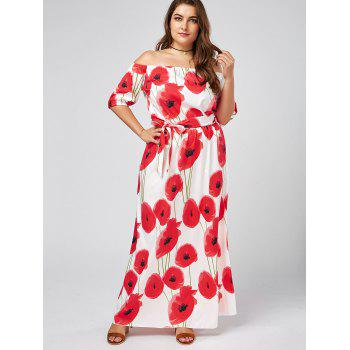 Plus Size Floral Maxi Off The Shoulder Long Beach Dress - WHITE WHITE