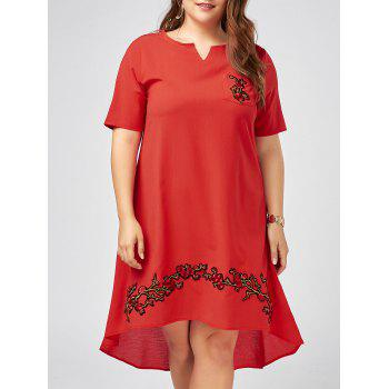 Plus Size Notched Floral Embroidered High Low Dress