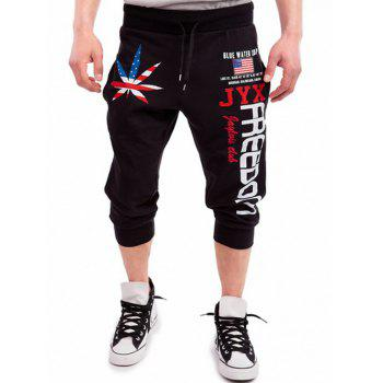 Patriotic Leaf Graphic Print Drawstring Cropped Joggers