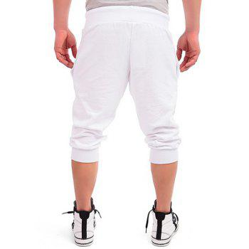 Patriotic Leaf Graphic Print Drawstring Cropped Joggers - WHITE WHITE