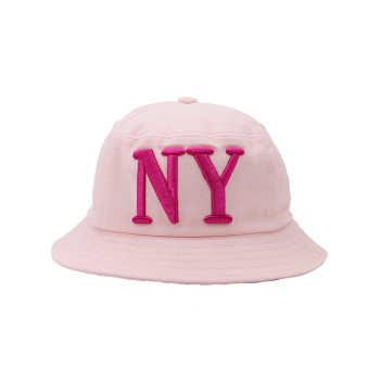 Letters Embroidered Round Top Bucket Hat - PINK PINK