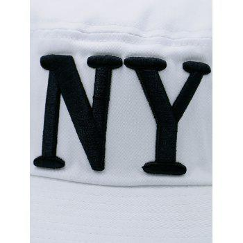 Letters Embroidered Round Top Bucket Hat -  WHITE