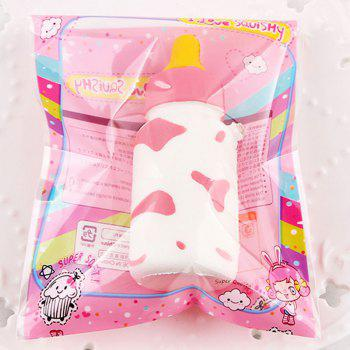 Milk Cow Print Feeding Bottle Squishy Toy -  PINK