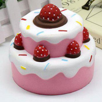 Squishy Food Toy Simulation Double Deck Strawberry Cake - PINK PINK