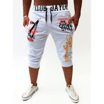 Graphic Sailing Print Drawstring Cropped Joggers - WHITE WHITE