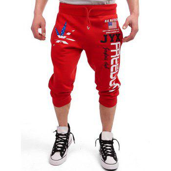 Patriotic Leaf Graphic Print Drawstring Cropped Joggers - RED RED