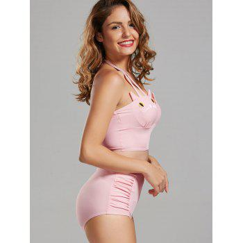 Cat Shape High Waisted Bikini with Cover-Up - PINK PINK