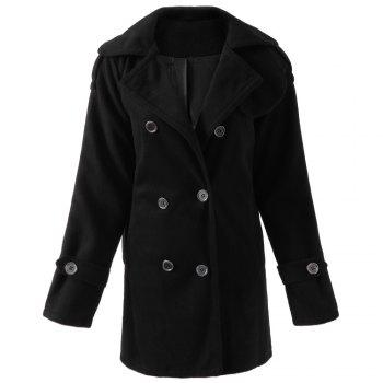 Stylish Turn-Down Neck Long Sleeve Pocket Design Double-Breasted Women's Coat