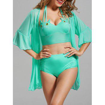 Cat Shape High Waisted Bikini with Cover-Up