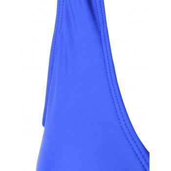 Plunging Neckline Slit Ruched One Piece Swimsuit - BLUE BLUE