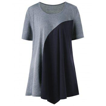 Plus Size Two Tone Tunic Top - GRAY XL