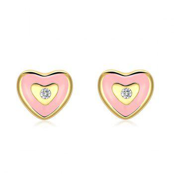 Rhinestone Heart Cute Stud Earrings