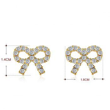 Rhinestone Tiny Bows Stud Earrings - GOLDEN