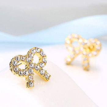 Rhinestone Tiny Bows Stud Earrings - GOLDEN GOLDEN