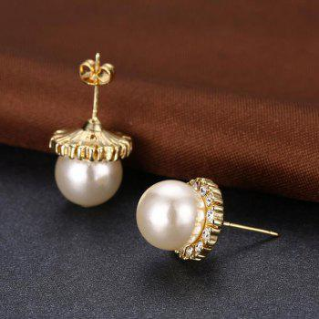 Rhinestoned Faux Pearl Tiny Stud Earrings -  GOLDEN