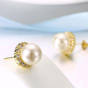 Rhinestoned Faux Pearl Tiny Stud Earrings - GOLDEN GOLDEN