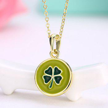 Round Engraved Clover Pendant Collarbone Necklace