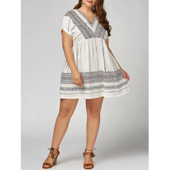 Plus  Size  V  Neck Bohemian Smock Dress