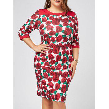 Plus Size Floral Printed Bodycon Dress with Sleeves