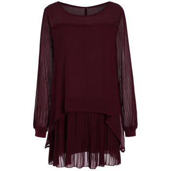 Plus Size Long Sleeve Chiffon Pleated Mini Dress