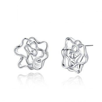 Filigree Flower Stud Tiny Earrings - SILVER SILVER