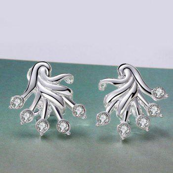 Alloy Rhinestone Plant Shaped Stud Earrings - SILVER SILVER