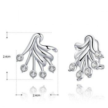 Alloy Rhinestone Plant Shaped Stud Earrings -  SILVER