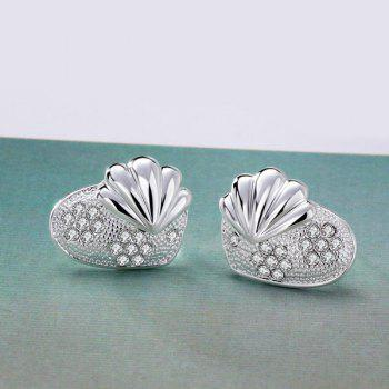 Rhinestone Alloy Shell Tiny Stud Earrings - SILVER SILVER