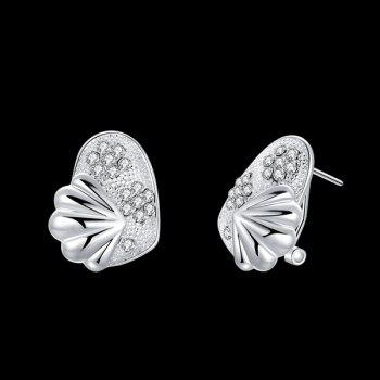 Rhinestone Alloy Shell Tiny Stud Earrings - SILVER