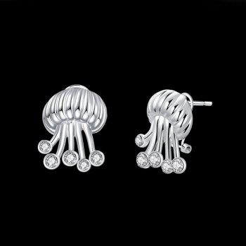 Rhinestone Jellyfish Shaped Tiny Stud Earrings -  SILVER
