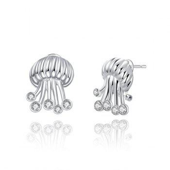 Rhinestone Jellyfish Shaped Tiny Stud Earrings - SILVER SILVER
