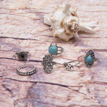 Faux Turquoise Oval Vintage Ring Set - SILVER SILVER
