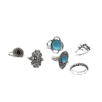 Faux Turquoise Oval Vintage Ring Set -  SILVER