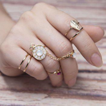 Rhinestone Leaf Finger Slave Ring Set - GOLDEN GOLDEN