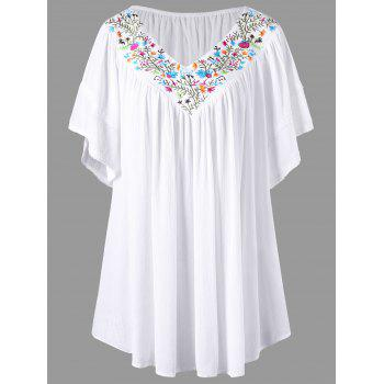 Plus Size Embroidery V Neck Blouse
