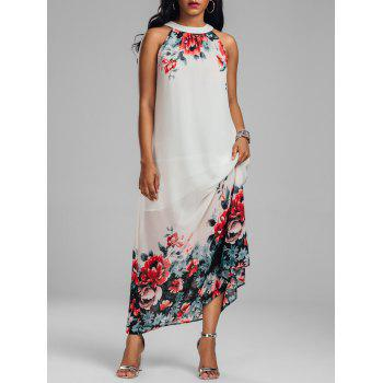 Sleeveless Maxi Chiffon Floral Dress