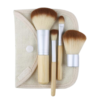 4Pcs Bamboo Handle Makeup Brushes Kit with Bag - WOOD WOOD