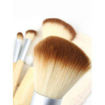 4Pcs Bamboo Handle Makeup Brushes Kit with Bag -  WOOD