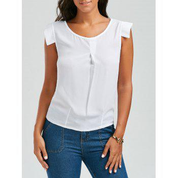 Brief White Scoop Neck Sleeveless Chiffon Blouse For Women