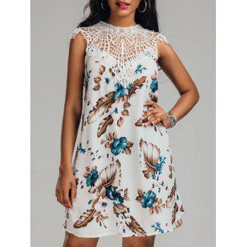 Crew Neck Crochet Trim Floral Dress