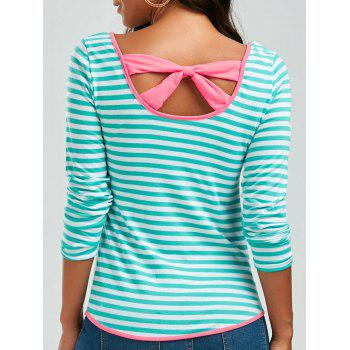 Striped Bowknot Long Sleeve T-Shirt