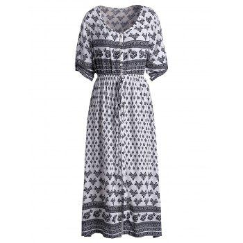 Bohemian Tribal Print Button Down Split Robe - Blanc S