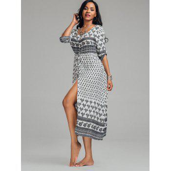 Bohemian Tribal Print Button Down Split Robe - Blanc M