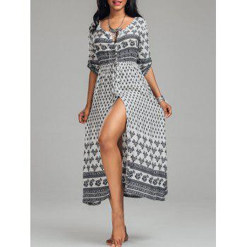 Bohemian Tribal Print Button Down Split Dress - WHITE M