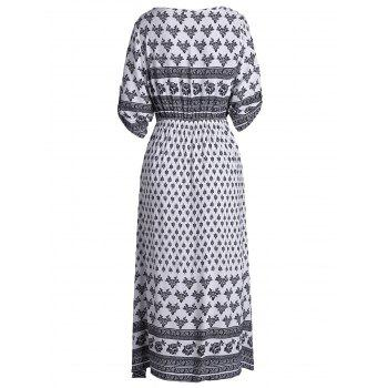 Bohemian Tribal Print Button Down Split Robe - Blanc L