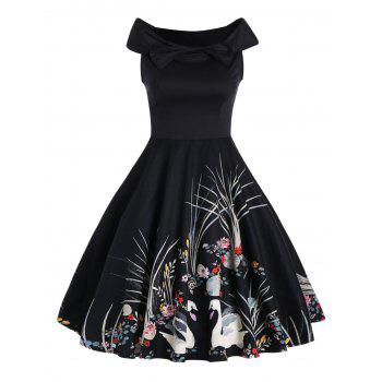 Bowknot Swan Print Sleeveless Vintage Dress