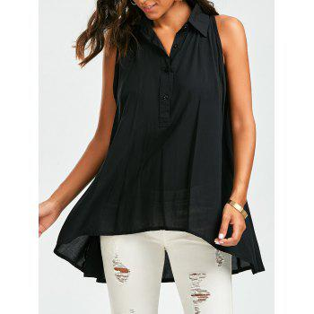 Lace Trim Sleeveless High Low Shirt